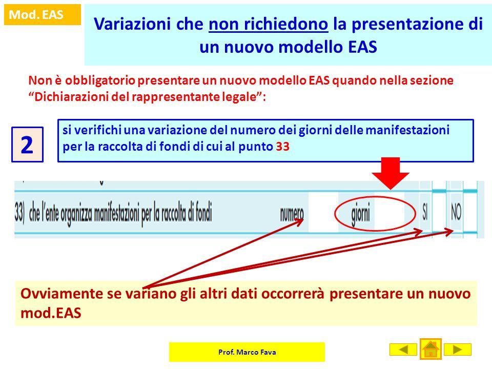 Variazioni che non richiedono la presentazione di un nuovo modello EAS