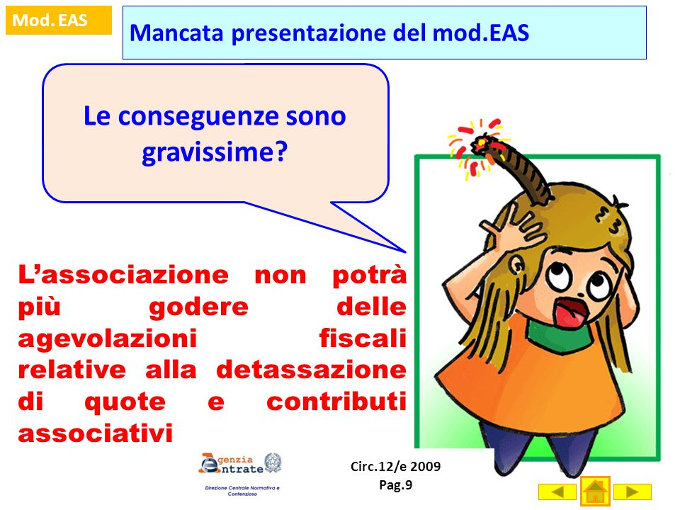 Mancata presentazione del mod.EAS