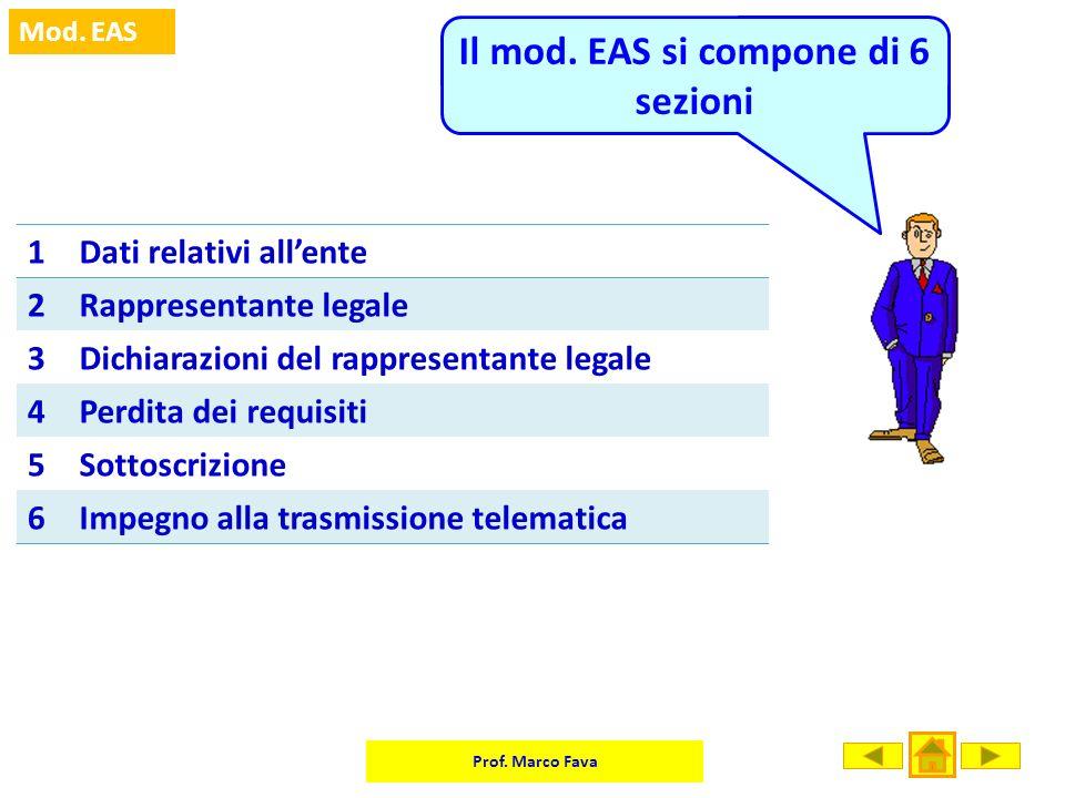 Il mod. EAS si compone di 6 sezioni