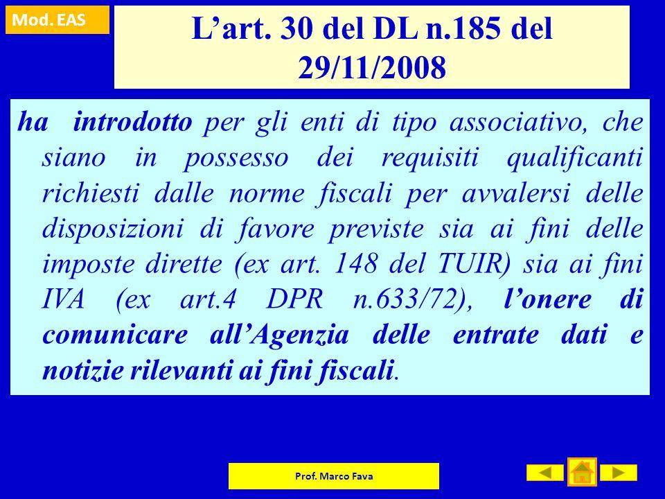 L'art. 30 del DL n.185 del 29/11/2008