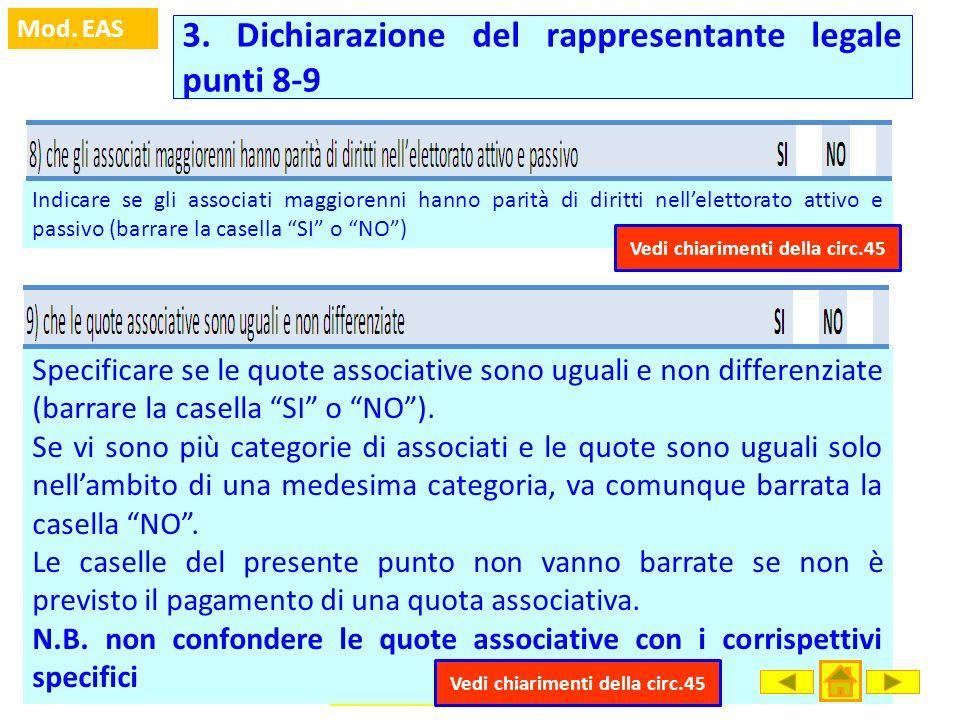3. Dichiarazione del rappresentante legale punti 8-9