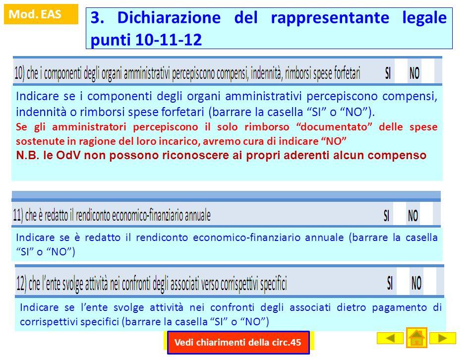 3. Dichiarazione del rappresentante legale punti 10-11-12