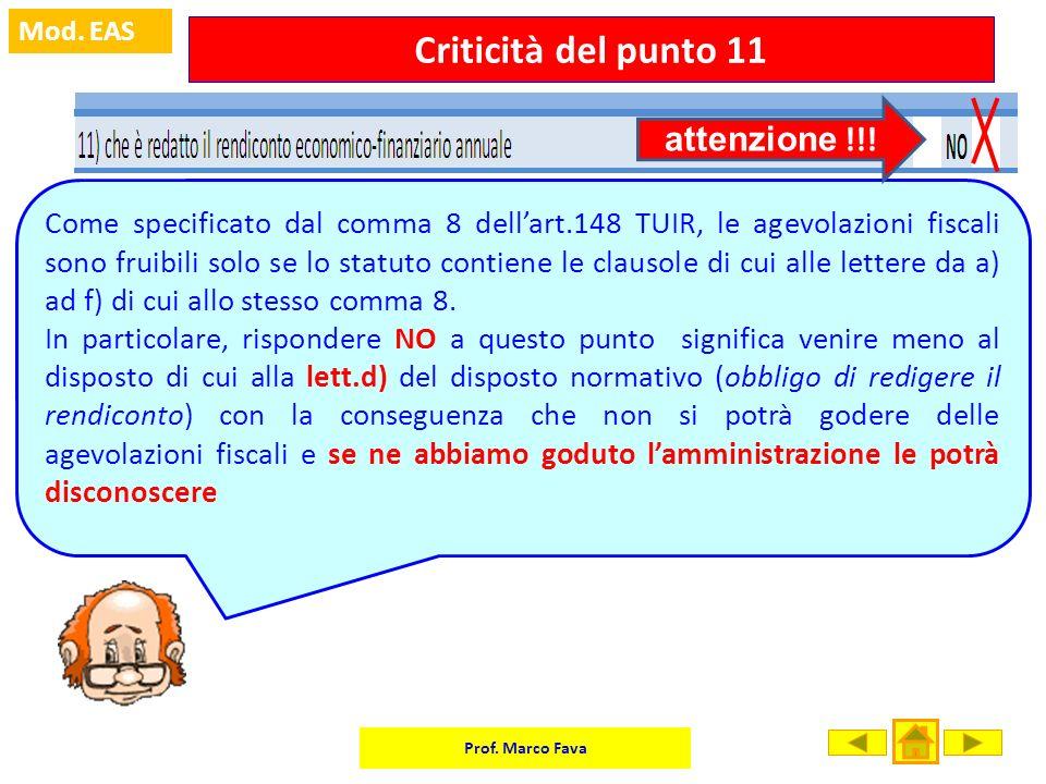 Criticità del punto 11 attenzione !!!