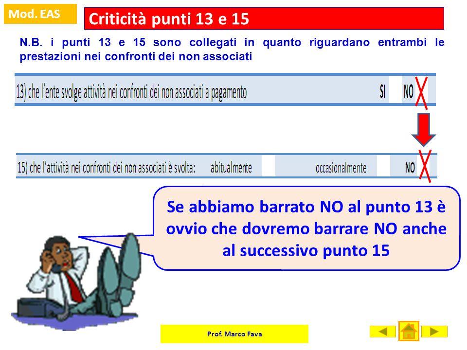 Criticità punti 13 e 15 N.B. i punti 13 e 15 sono collegati in quanto riguardano entrambi le prestazioni nei confronti dei non associati.