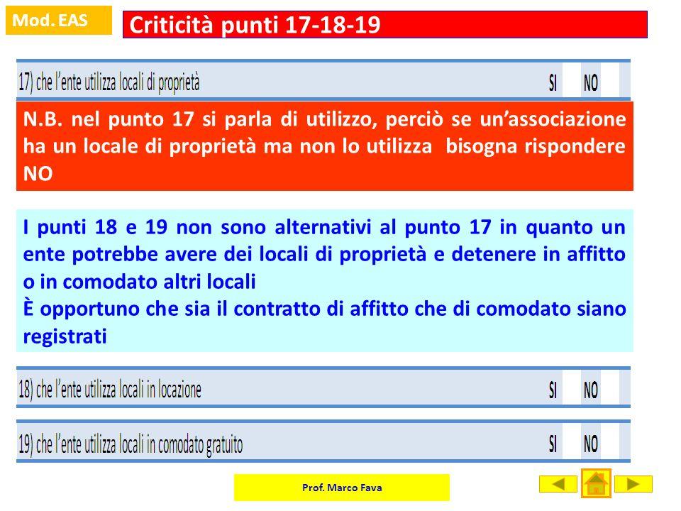 Criticità punti 17-18-19