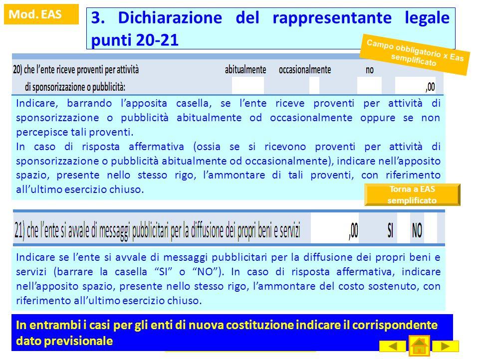 3. Dichiarazione del rappresentante legale punti 20-21