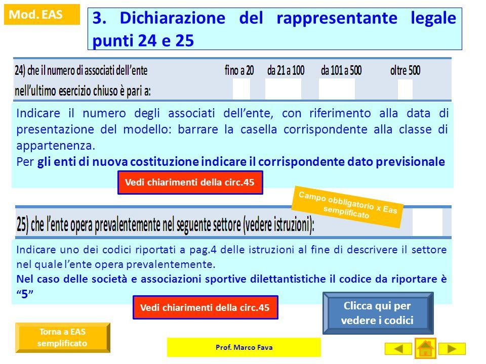 3. Dichiarazione del rappresentante legale punti 24 e 25
