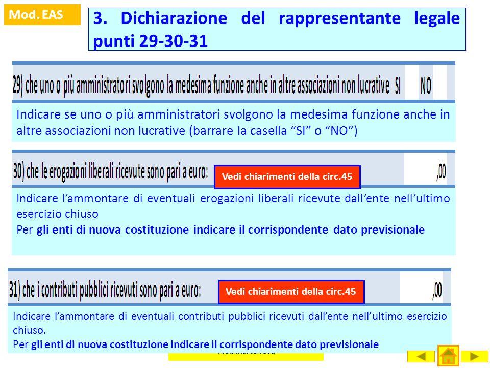 3. Dichiarazione del rappresentante legale punti 29-30-31