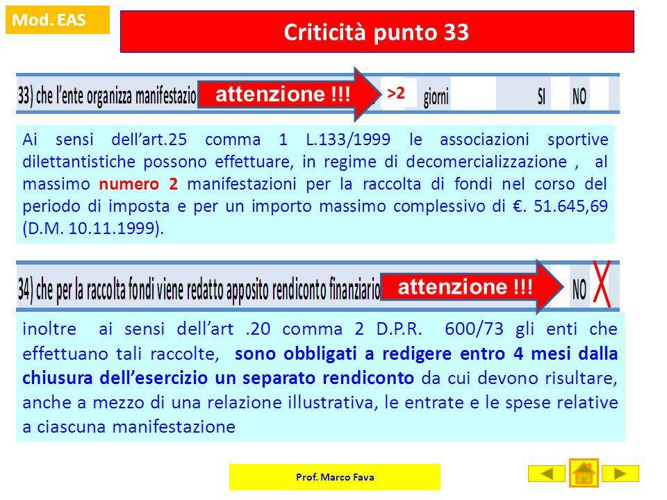 Criticità punto 33 attenzione !!! attenzione !!!