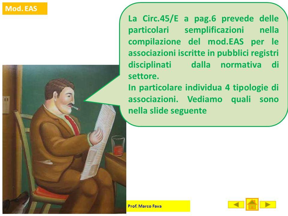 La Circ.45/E a pag.6 prevede delle particolari semplificazioni nella compilazione del mod.EAS per le associazioni iscritte in pubblici registri disciplinati dalla normativa di settore.