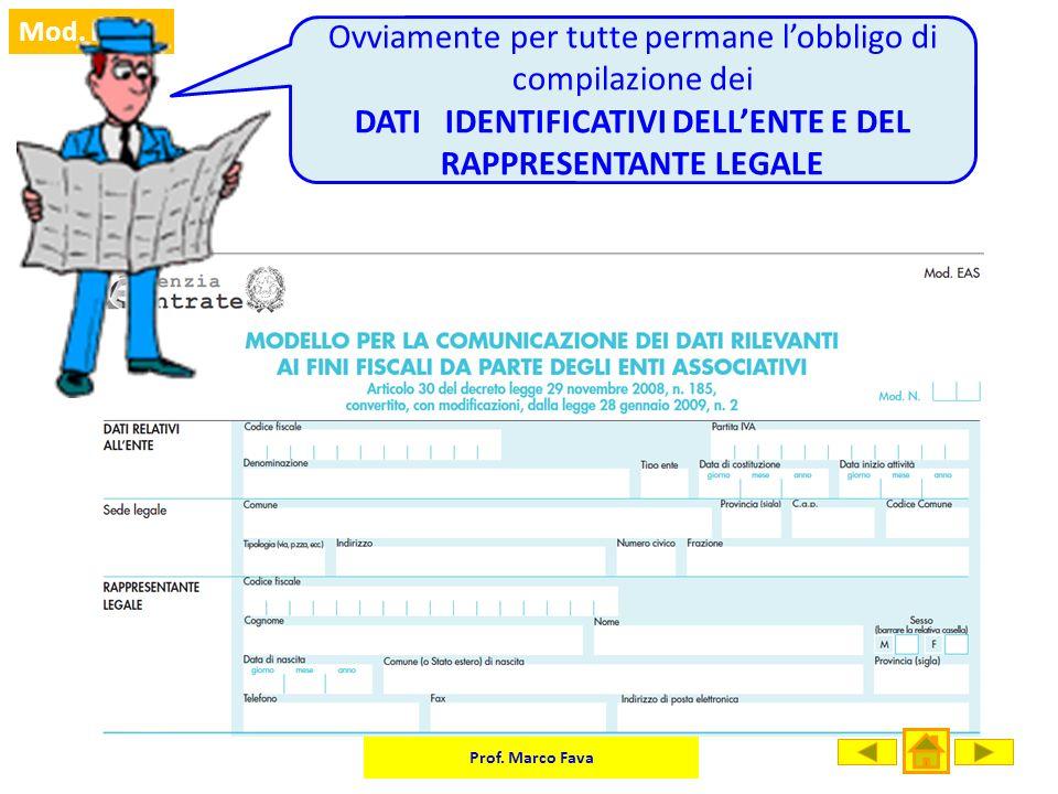 DATI IDENTIFICATIVI DELL'ENTE E DEL RAPPRESENTANTE LEGALE