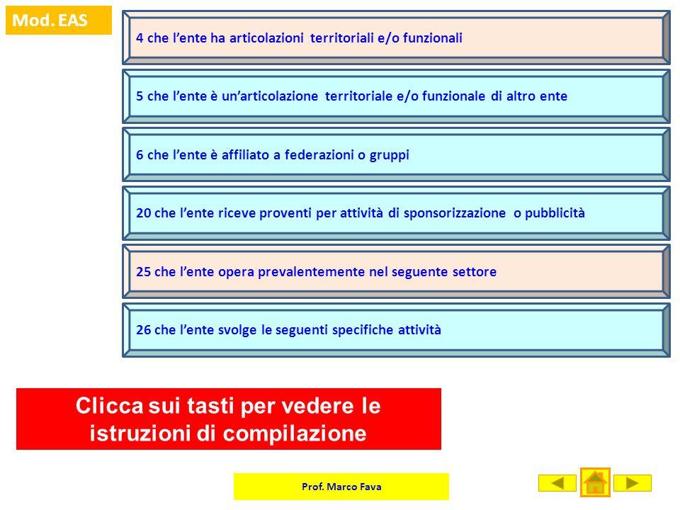 Clicca sui tasti per vedere le istruzioni di compilazione