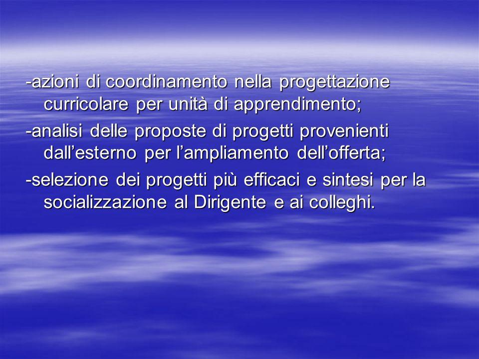 -azioni di coordinamento nella progettazione curricolare per unità di apprendimento;