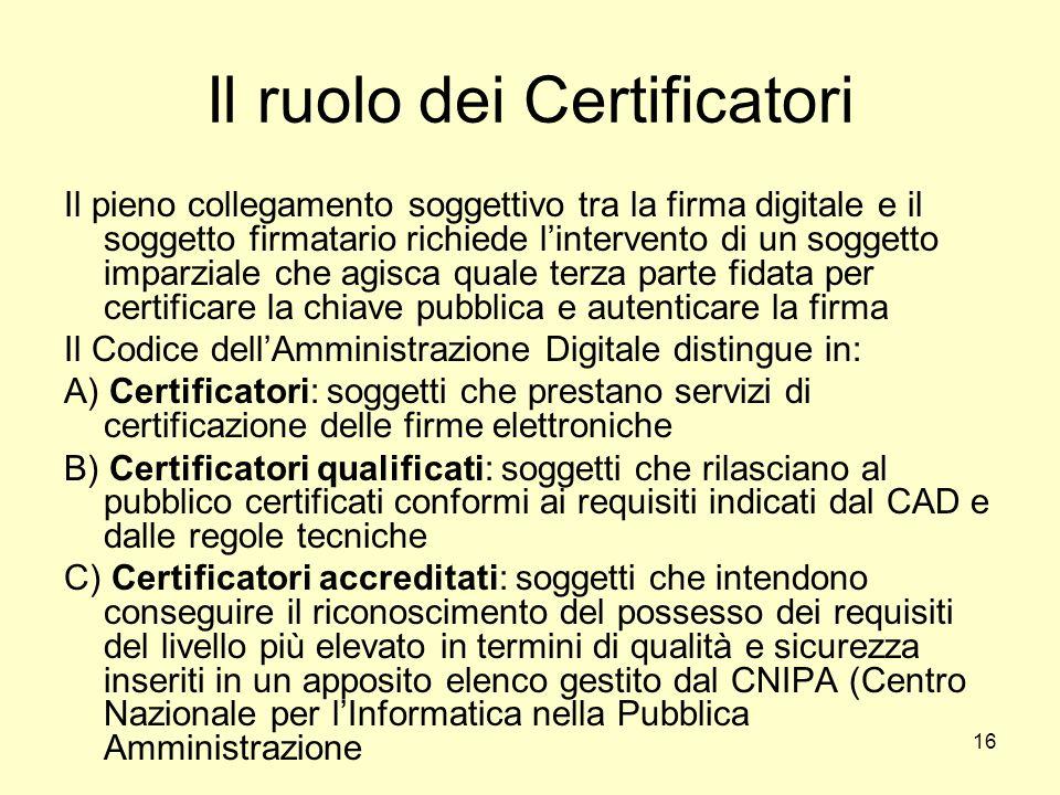 Il ruolo dei Certificatori