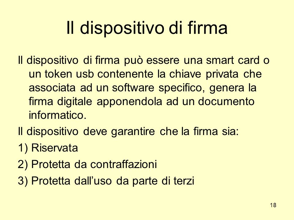 Il dispositivo di firma