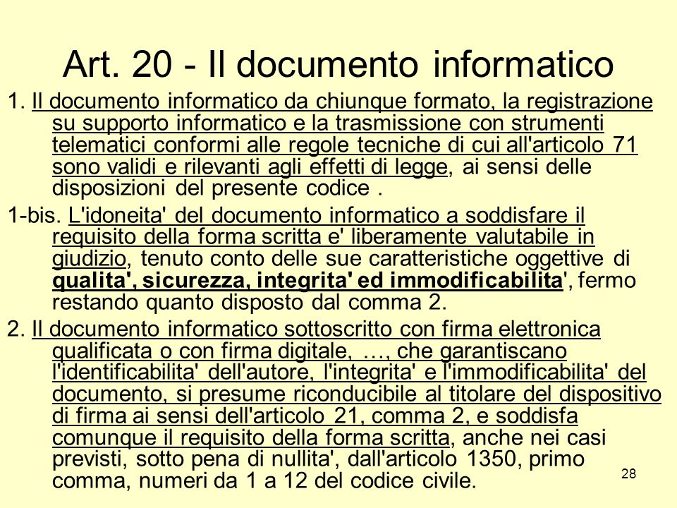 Art. 20 - Il documento informatico