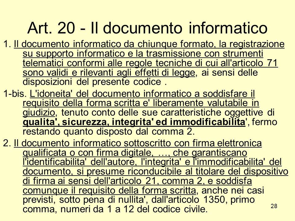 Art. 20 - Il documento informatico