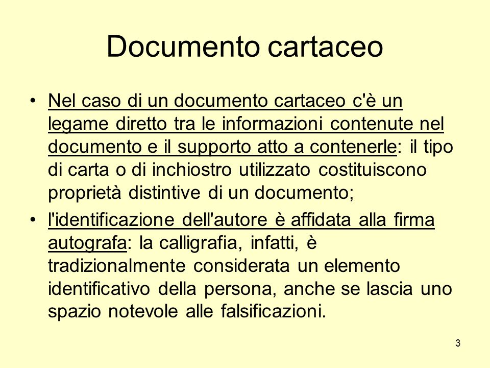 Documento cartaceo