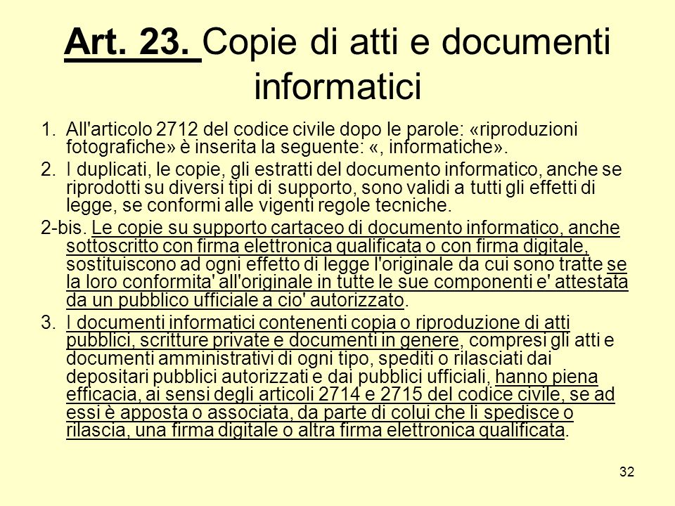 Art. 23. Copie di atti e documenti informatici