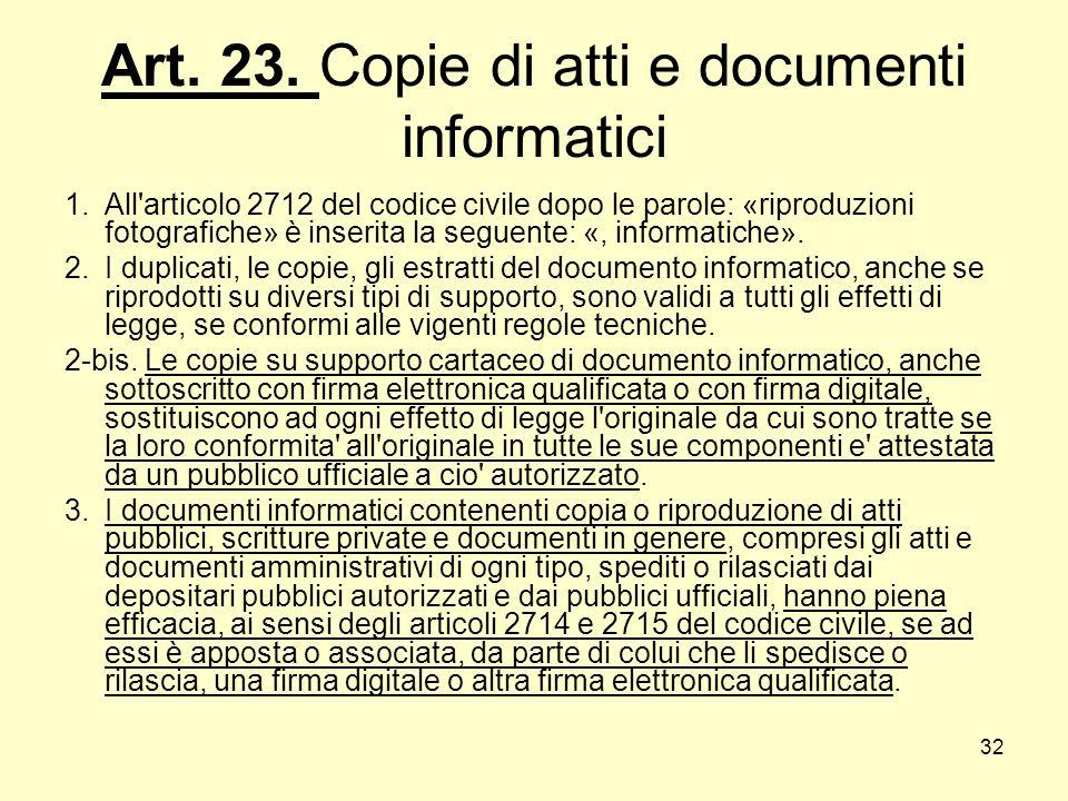 Art. 23. Copie di atti e documenti informatici