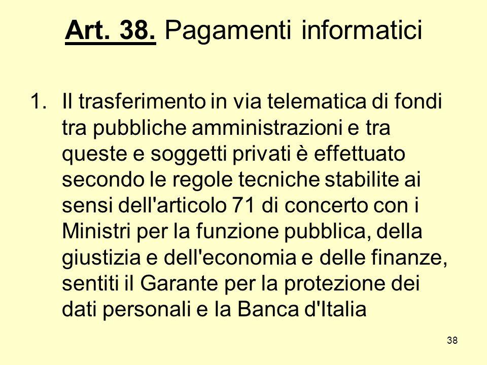 Art. 38. Pagamenti informatici