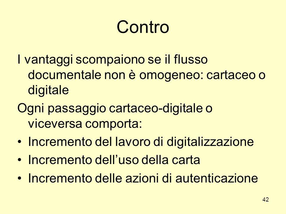 Contro I vantaggi scompaiono se il flusso documentale non è omogeneo: cartaceo o digitale. Ogni passaggio cartaceo-digitale o viceversa comporta: