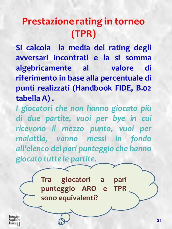 Prestazione rating in torneo (TPR)