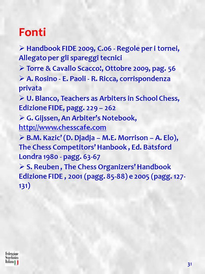 Fonti Handbook FIDE 2009, C.06 - Regole per i tornei, Allegato per gli spareggi tecnici. Torre & Cavallo Scacco!, Ottobre 2009, pag. 56.