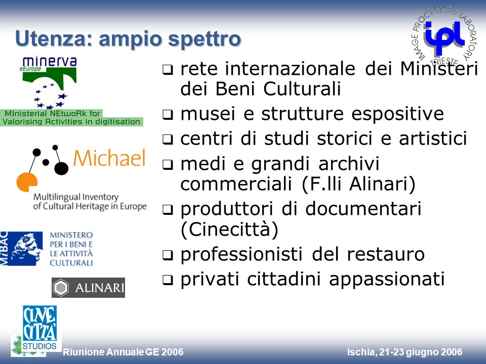 Utenza: ampio spettrorete internazionale dei Ministeri dei Beni Culturali. musei e strutture espositive.