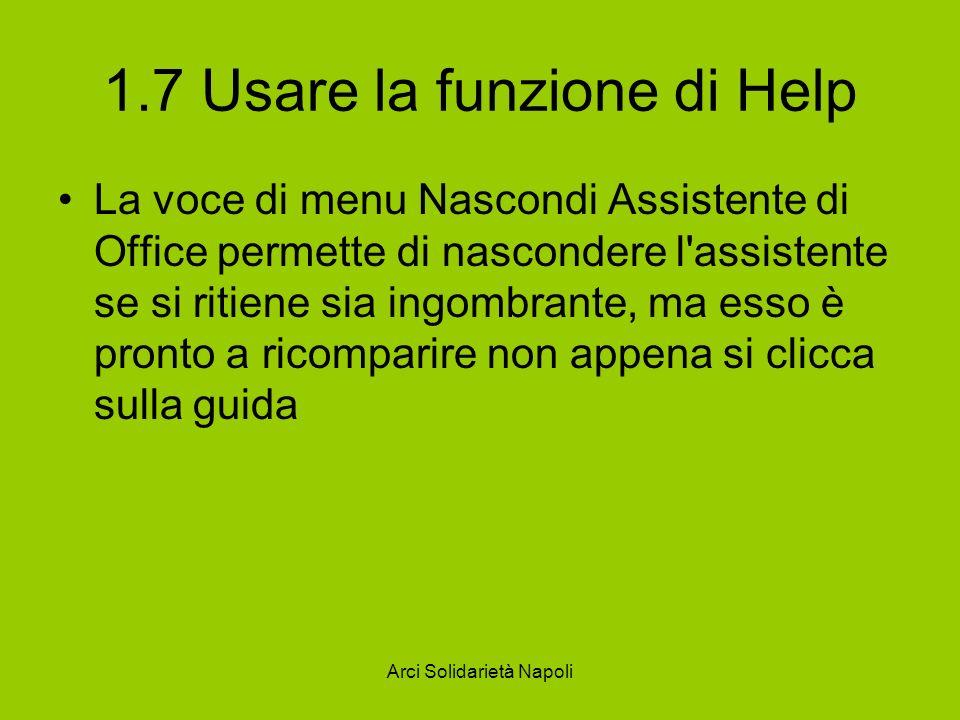 1.7 Usare la funzione di Help