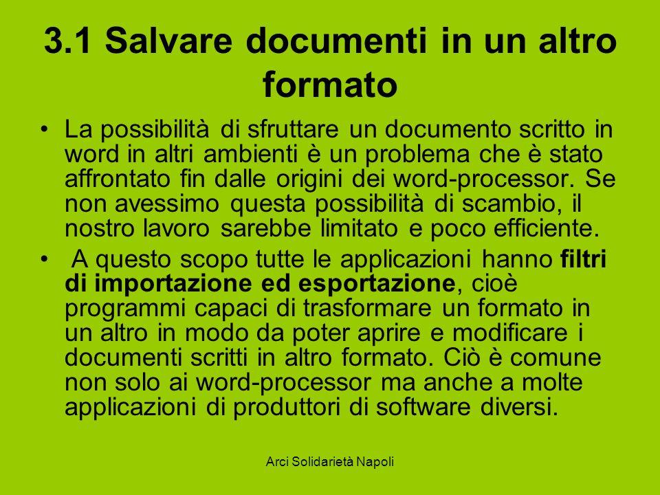 3.1 Salvare documenti in un altro formato