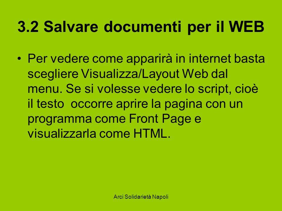 3.2 Salvare documenti per il WEB