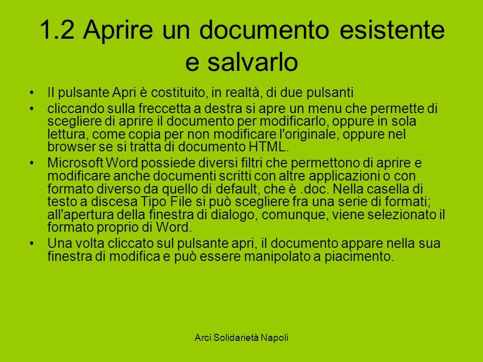 1.2 Aprire un documento esistente e salvarlo