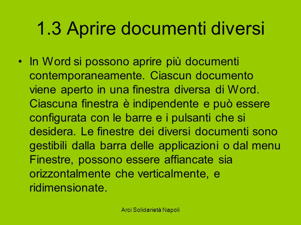 1.3 Aprire documenti diversi