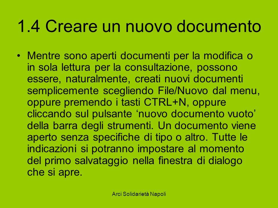 1.4 Creare un nuovo documento