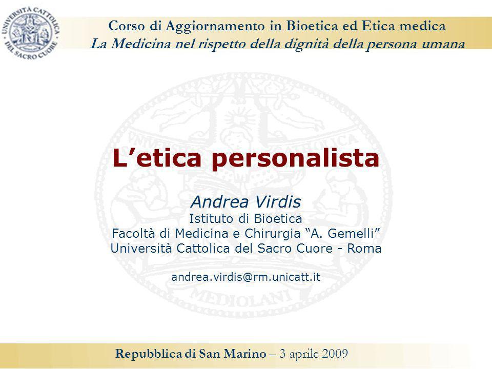 L'etica personalista Andrea Virdis