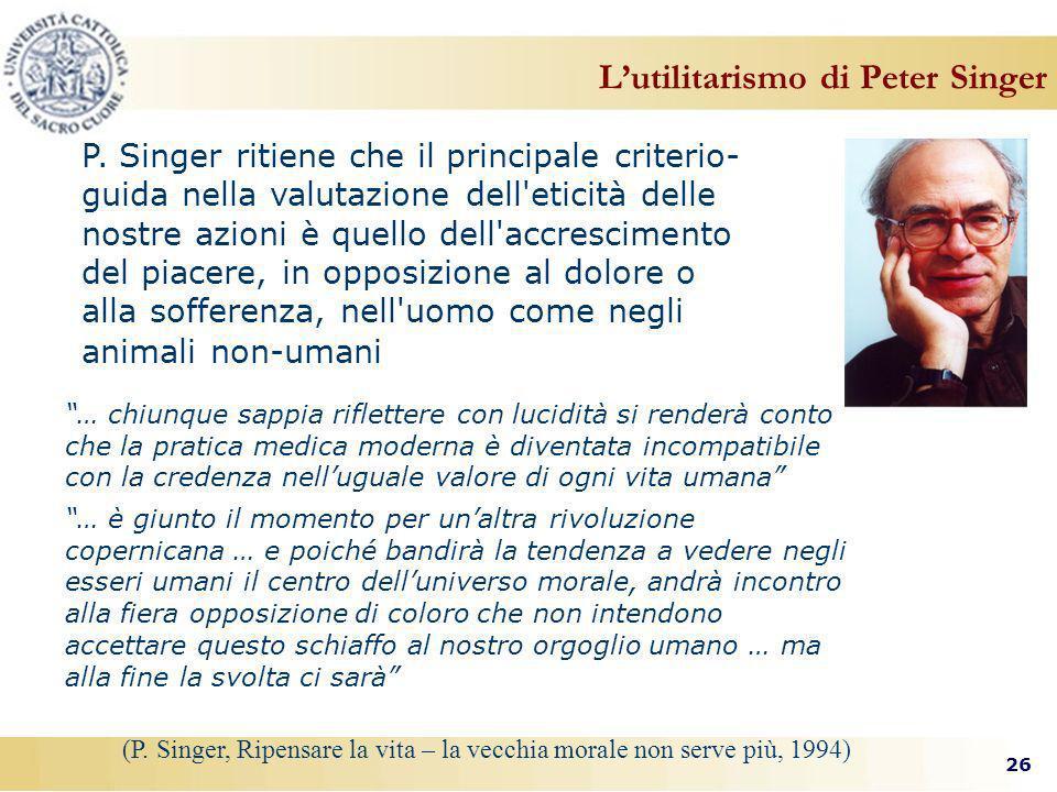 L'utilitarismo di Peter Singer
