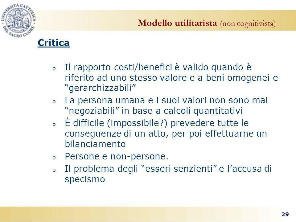 Modello utilitarista (non cognitivista)