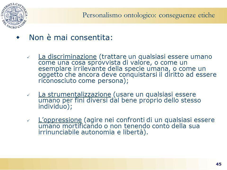 Personalismo ontologico: conseguenze etiche