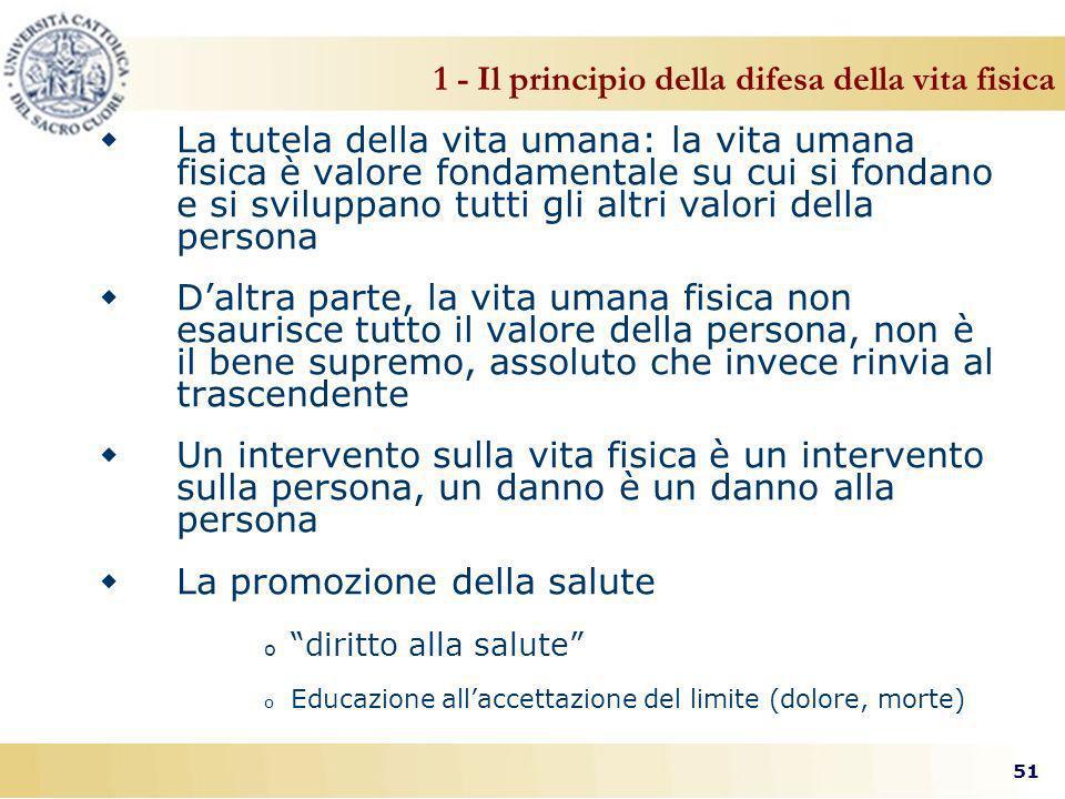 1 - Il principio della difesa della vita fisica