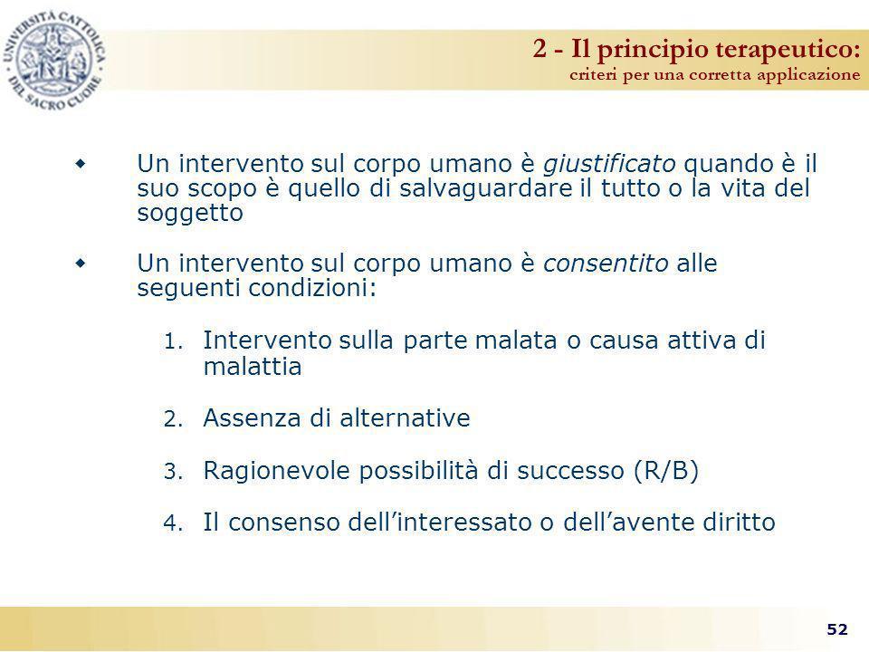 2 - Il principio terapeutico: criteri per una corretta applicazione