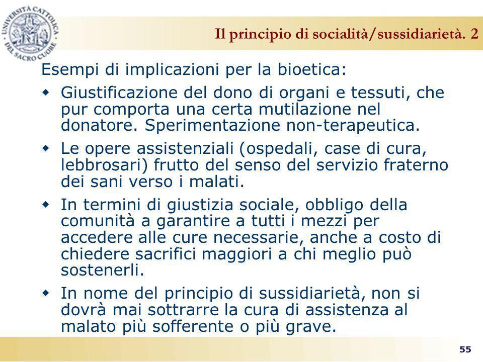 Il principio di socialità/sussidiarietà. 2