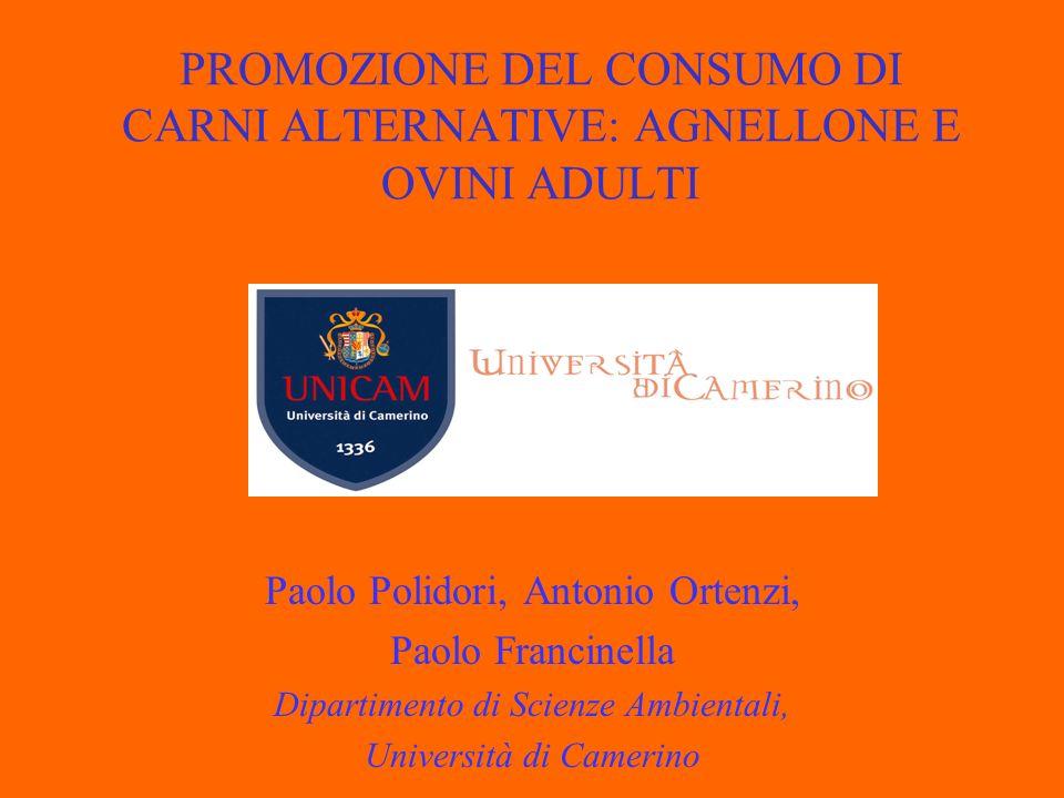 PROMOZIONE DEL CONSUMO DI CARNI ALTERNATIVE: AGNELLONE E OVINI ADULTI