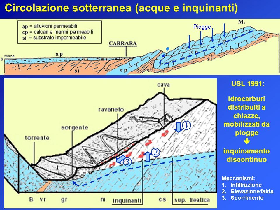    Circolazione sotterranea (acque e inquinanti) USL 1991: