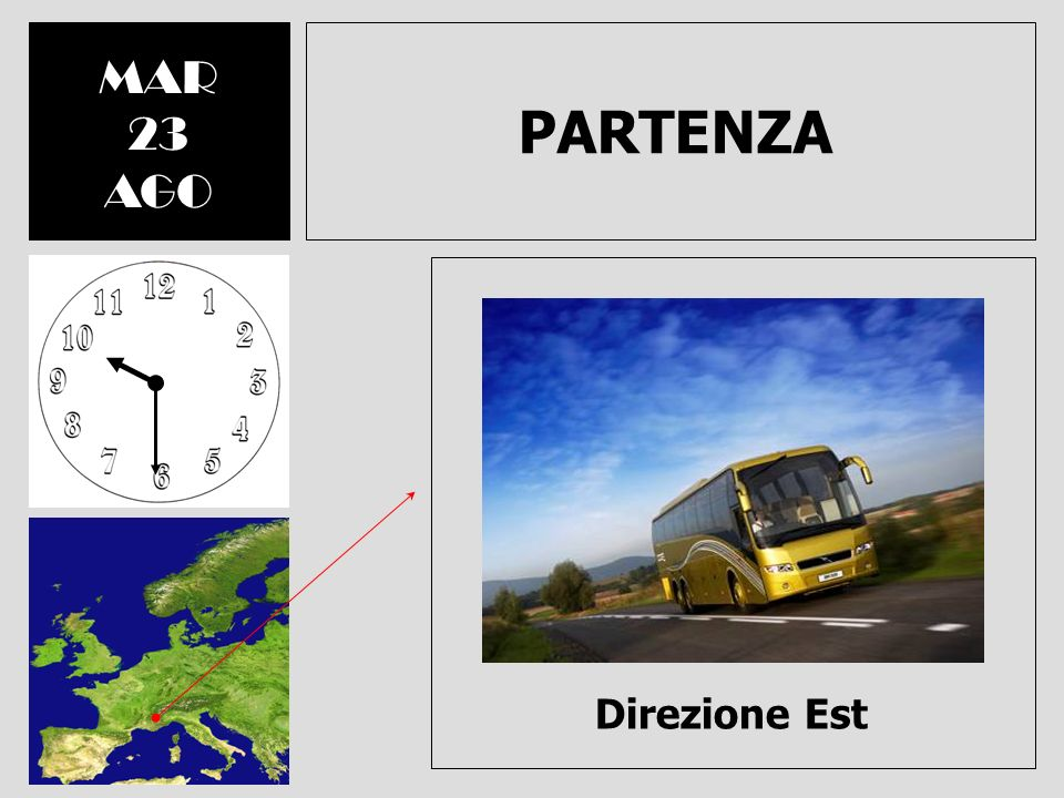 MAR 23 AGO PARTENZA Direzione Est
