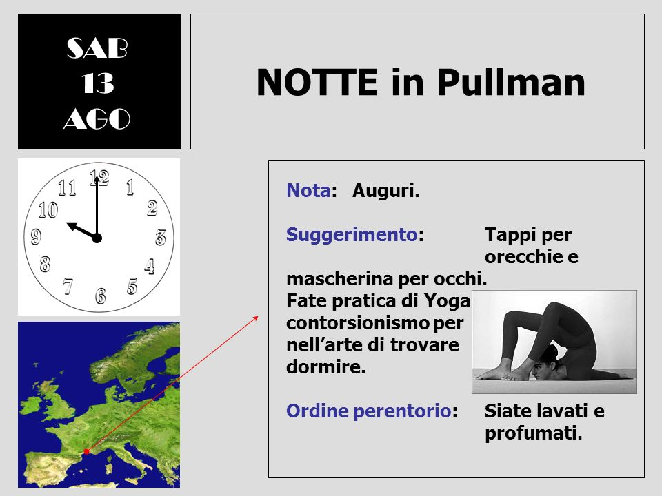 NOTTE in Pullman SAB 13 AGO Nota: Auguri.