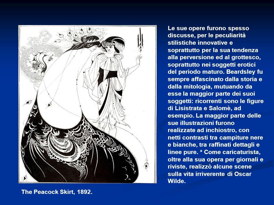 Le sue opere furono spesso discusse, per le peculiarità stilistiche innovative e soprattutto per la sua tendenza alla perversione ed al grottesco, soprattutto nei soggetti erotici del periodo maturo. Beardsley fu sempre affascinato dalla storia e dalla mitologia, mutuando da esse la maggior parte dei suoi soggetti: ricorrenti sono le figure di Lisistrata e Salomè, ad esempio. La maggior parte delle sue illustrazioni furono realizzate ad inchiostro, con netti contrasti tra campiture nere e bianche, tra raffinati dettagli e linee pure. * Come caricaturista, oltre alla sua opera per giornali e riviste, realizzò alcune scene sulla vita irriverente di Oscar Wilde.
