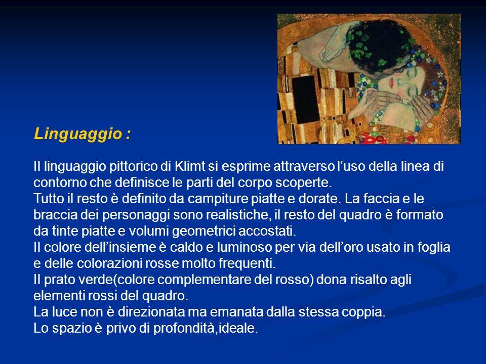 Linguaggio : Il linguaggio pittorico di Klimt si esprime attraverso l'uso della linea di contorno che definisce le parti del corpo scoperte.