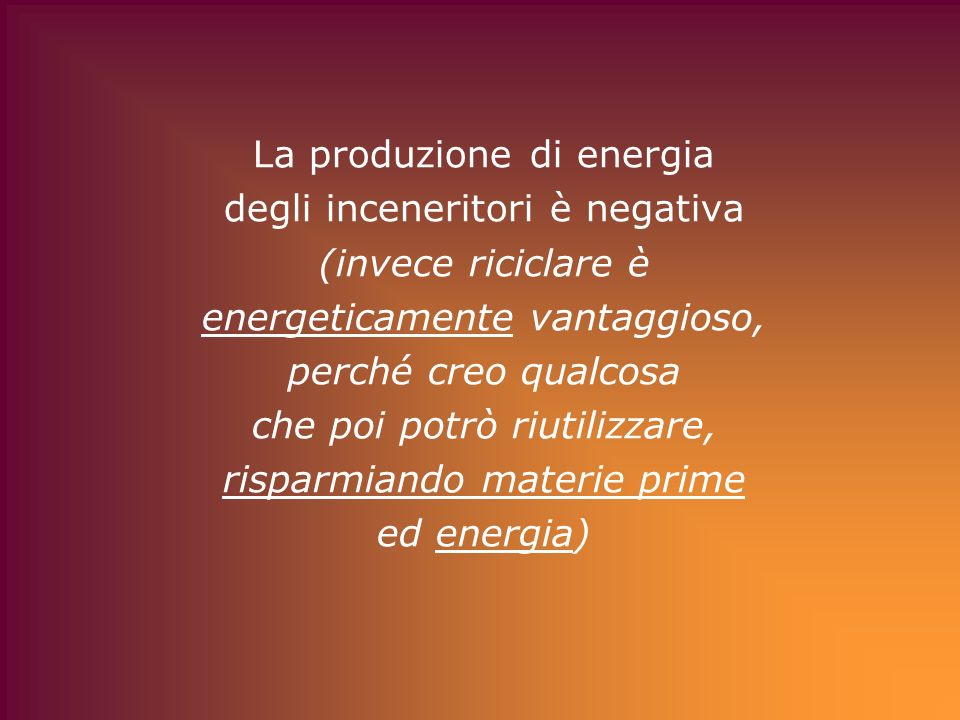 La produzione di energia degli inceneritori è negativa