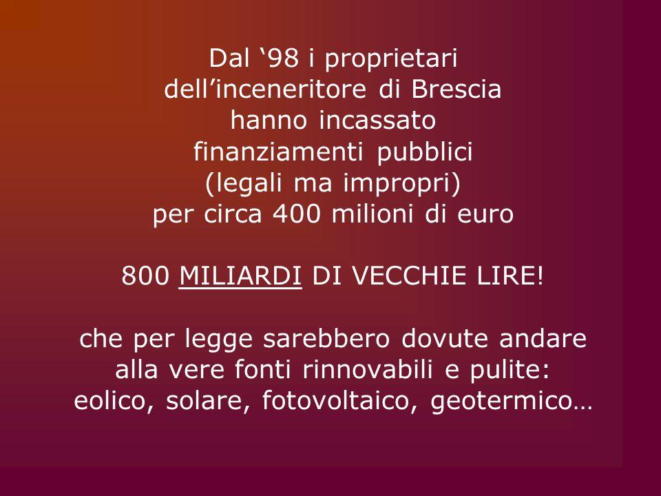 dell'inceneritore di Brescia hanno incassato finanziamenti pubblici